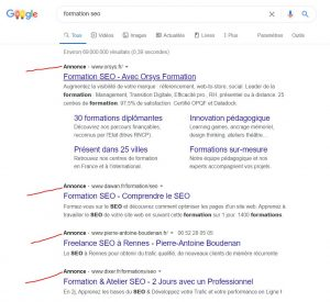 formation seo google serp