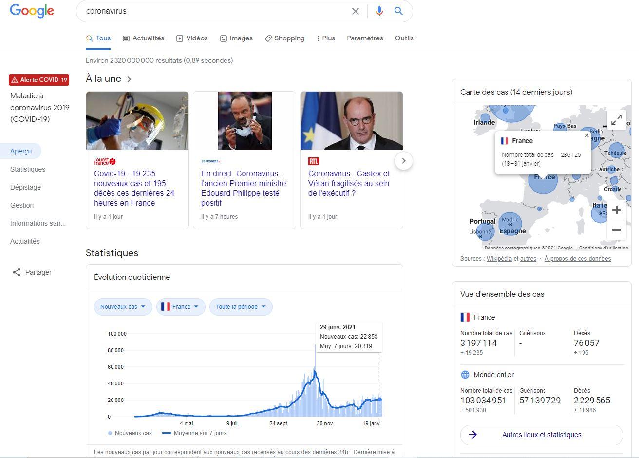 coronavirus google 2021